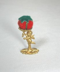 Cherub Pin Cushion, Gold Tone