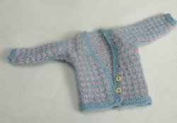 Hand Knitted Pink and Blue Checked Sweater