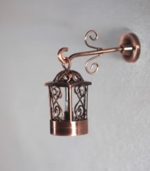 Battery Operated Gramacy 2-Piece Hanging Coach Lamp, Copper