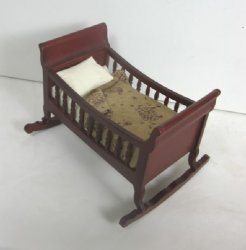 Mahogany Cradle with Hand Quilted Sheep Coverlet