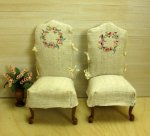 Side Chairs with Hand Painted Linen Slipcovers
