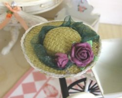 Straw Hat with Red Rose from our Rose Cottage Collection