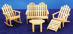Adirondack Furniture Set, Oak, Five Piece