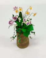 Daffodils, Pansies, Tulips, and Lilies of the Valley in Clay Pot