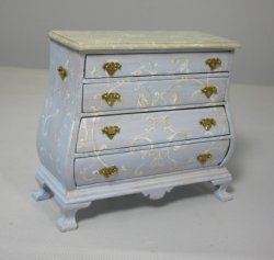 Hand Painted 4-Drawer Bombe Chest