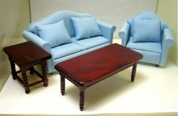 """Starter"" Living Room Set, Four Piece, Blue"
