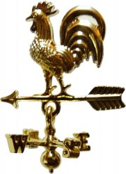 Half-Inch Scale Brass Rooster Weather Vane