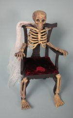 Skeleton Chair, Red Velvet Cushion