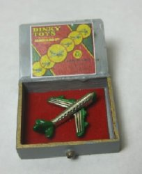 Silver Toy Airplane in Wooden Box