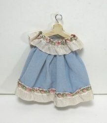Toddler's Dress in Blue Silk on Wooden Hanger