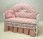 "Metal ""Wicker"" Love Seat Upholstered in Pink"