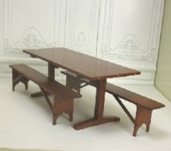 Cherry Trestle Table & Two Benches by Don Cnossen