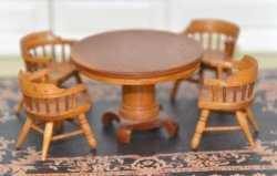 "1/2"" Scale Table and Four Chairs, Signed ""RC"""