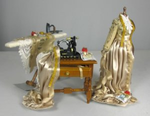 Sewing Trio - Mannequin, Sewing Machine & Ironing Board