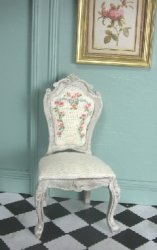 Carved Chair in Antiqued Taupe with Hand Painted Upholstery