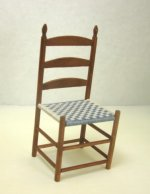 Handcrafted Ladderback Shaker Chair with Blue & White woven Seat