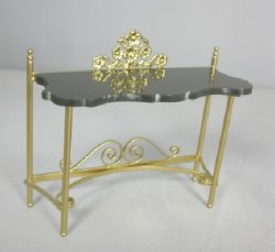"Black ""Marble"" Top Console Table"