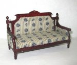 Victorian Sofa, Mahogany Finish with Blue Stripe upholstery