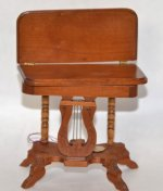 Lyre Front Table with hinged, Rotating Top by Tom Wolfert