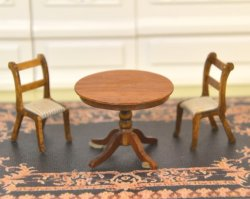 "1/2"" Scale Walnut Table & Two Chairs, signed ""AB"""