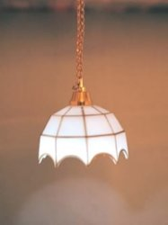 Battery Operated Ceiling Light with White Tiffany Style Shade