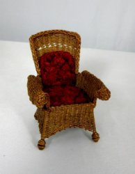 Wicker Chair with Red Cushion
