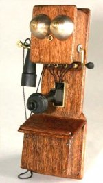 Old Fashioned Wooden Wall Telephone