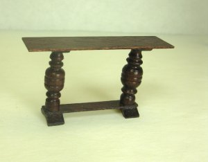 Half Inch Scale Hall or Library Table, Mahogany