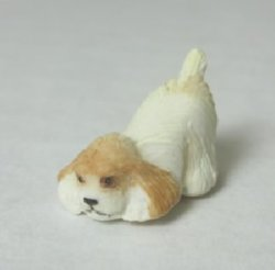 Half-Inch Scale Puppy, White and Tan, with Behind in the Air