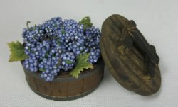 Blue Grapes in Half Barrel with Lid