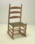 Shaker Ladderback Rocking Chair with Tan & Green Woven Seat