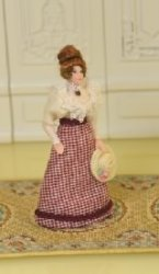 "1/2"" Scale Doll, Woman in Checked Shirt by Loretta Kasza"