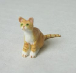 Half-Inch Scale Cat, Orange Tiger, Sitting