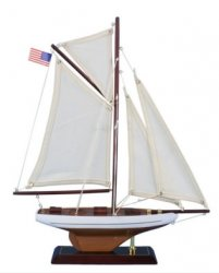 Wooden Rustic Columbia Model Sailboat, 16""