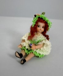 Toddler Doll in Green and White