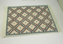 Cross-Stitched Rug, White, Green & Peach