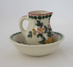 Pottery Pitcher and Bowl, Floral with Pink Accents