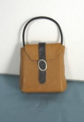Tan Leather Purse with Black Strap