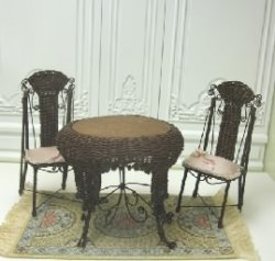 Wicker and Metal Table & Two Chairs by Tillie