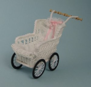 Half-Inch Scale or Toy White Wicker Stroller