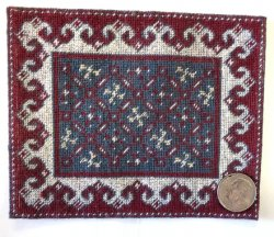 Needlepoint Rug, Red, Beige and Blue-Gray