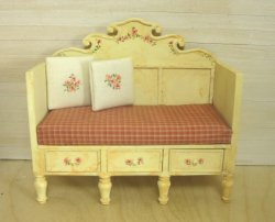 Antiqued Swedish Style Bench with Silk Cushion