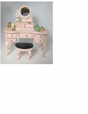 Shabby Chic Pink Vanity and Stool