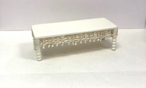 White Wicker Coffee Table by Peggy Taylor