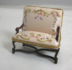 "1/2"" Scale Settee with Painted Upholstery, Pink"