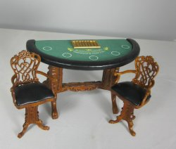Grande Casino Blackjack Table and Two Swivel Chairs