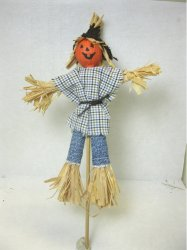 Scarecrow in Blue Plaid Shirt