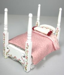 "1/2"" Scale Four Poster Bed, Hand-Painted, with Pink Dressing"