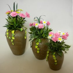 Pink Dahlias and Daisies in Urn, Large