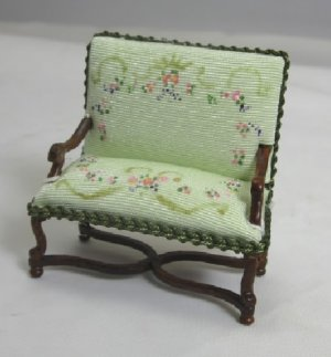 "1/2"" Scale Settee with Painted Upholstery, Green"